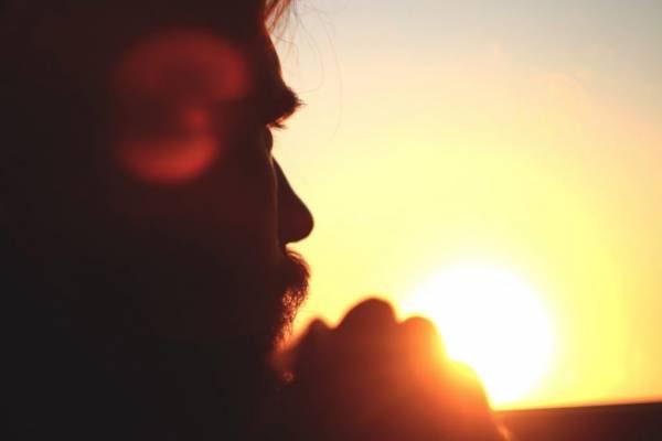 guy, man, sunset, contemplation